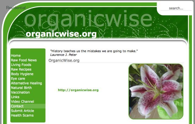 OrganicWise.org - Healthy living established website for sale or trade
